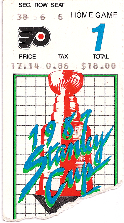 Ticket Stub from Game 1 of Flyers 1987 Stanley Cup Playoffs