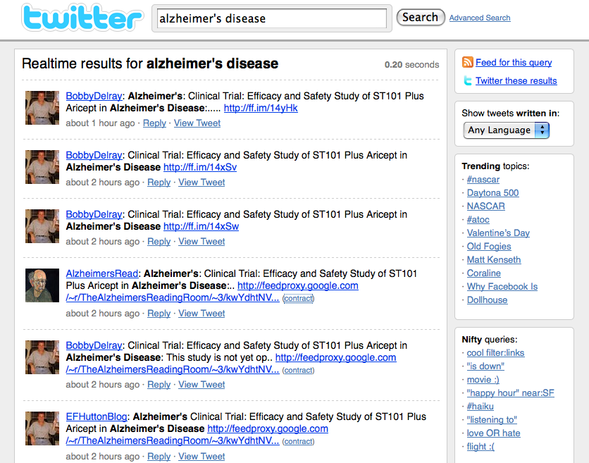 alzheimer's disease twitter search