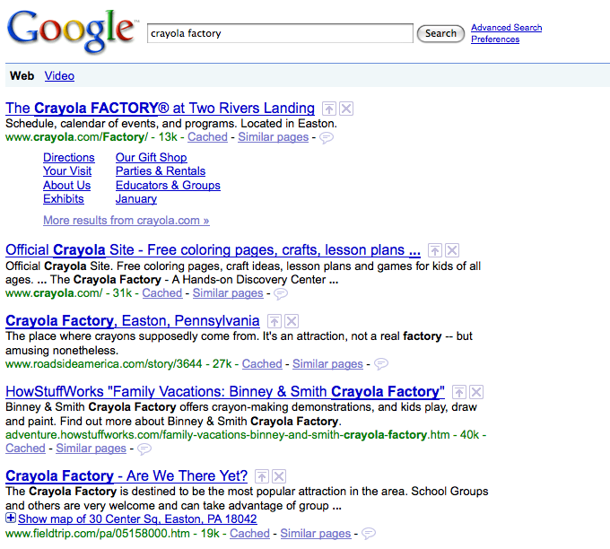 crayola factory search on google