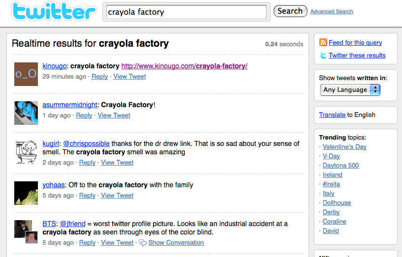 crayola factory search on twitter