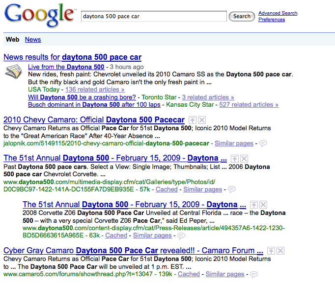 daytona 500 pace car search on google