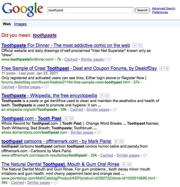 toothpast google search results