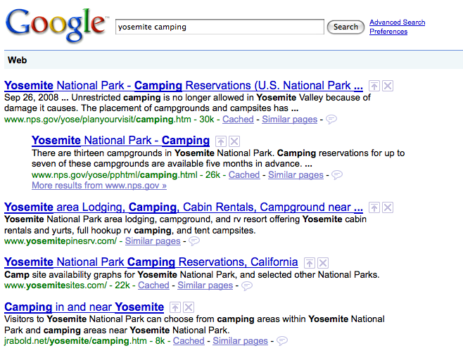 yosemite camping google search