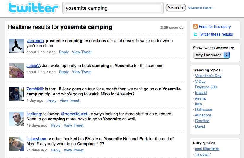 yosemite camping twitter search