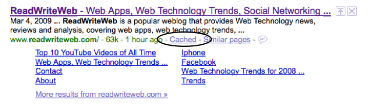 ReadWriteWeb Google Search Result