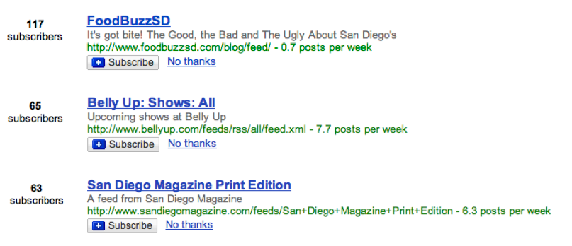 Google Reader Search Based Recommendations