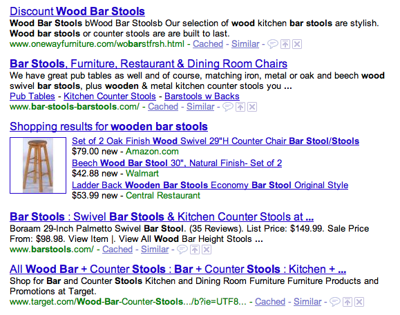 Google wooden bar stools query
