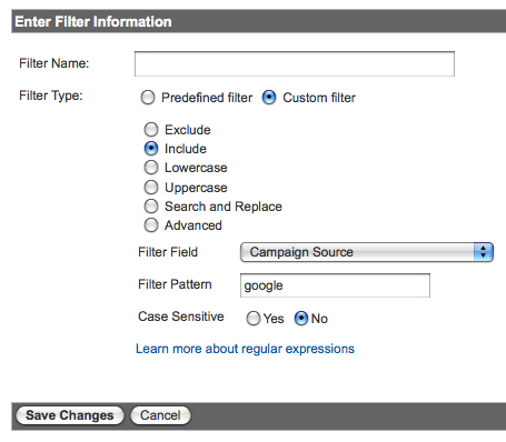 analytics google filter