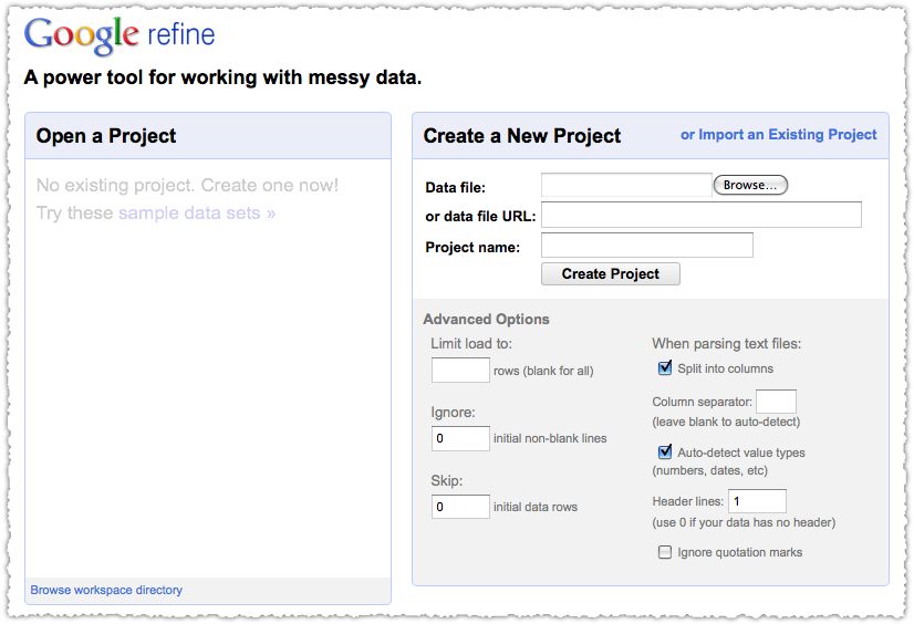 Start a Google Refine Project