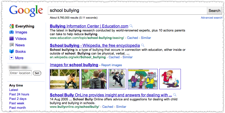 Google School Bullying Query Results Before Farmer Update