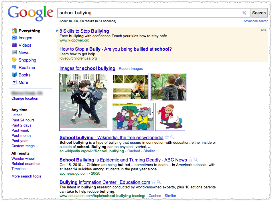 Google School Bullying Query Result