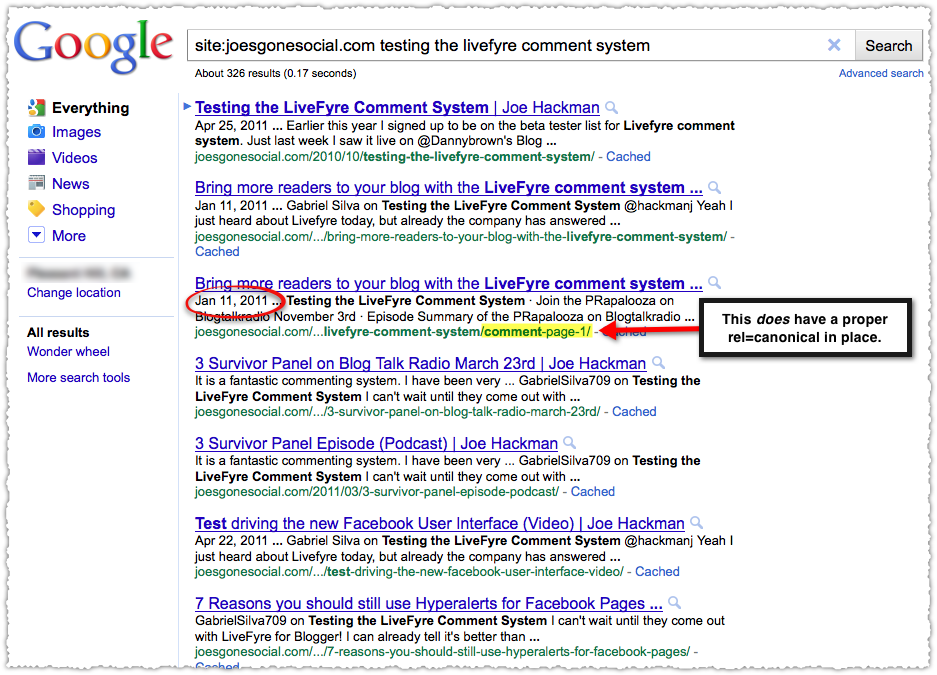 Comment-Page-1 in SERP