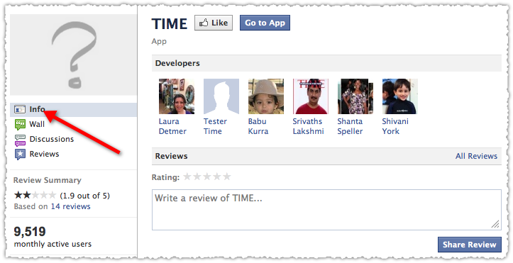 Time Facebook Application Developer Information
