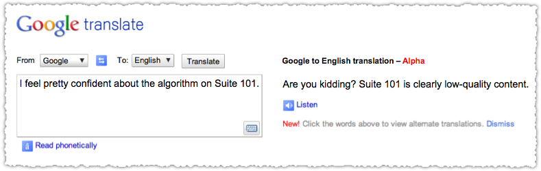 Matt Cutts to English Translation