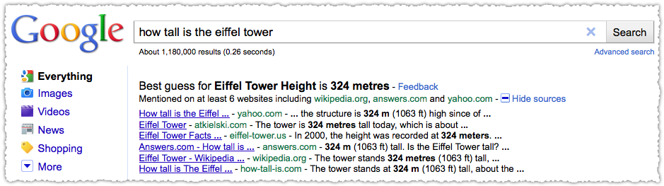 Google Best Guess at Eiffel Tower Height
