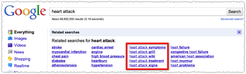 google related searches for heart attack