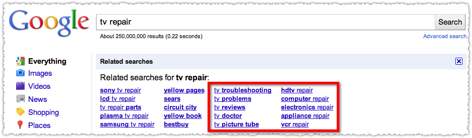 google related searches for tv repair