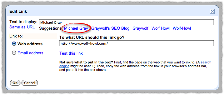 Google Scribe Link Suggestions for Wolf Howl