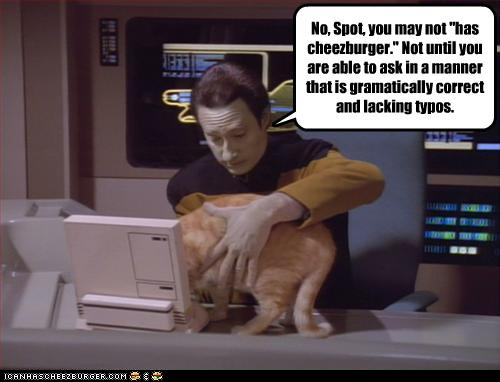 Data and Spot Star Trek LOLcat