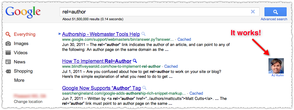 rel author search results example
