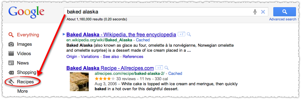Google Contextual Navigation for Recipe Queries