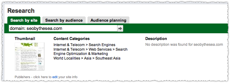 Google Ad Planner Result for SEO by the Sea