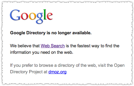 Google Directory No Longer Available Message