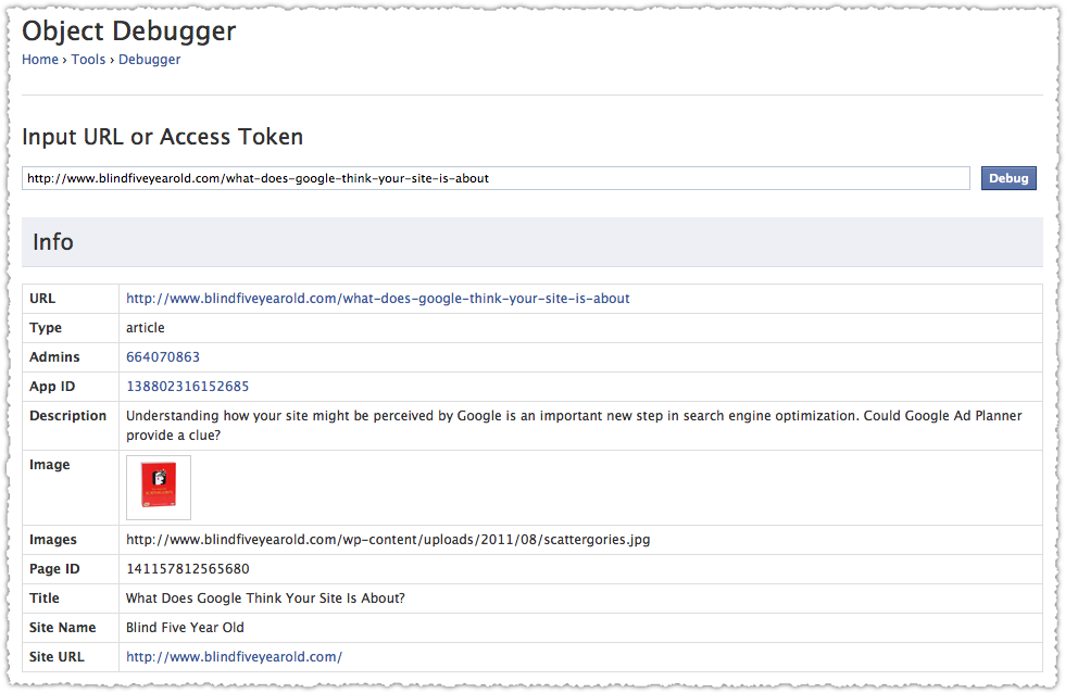 Facebook Debugger Validation Results