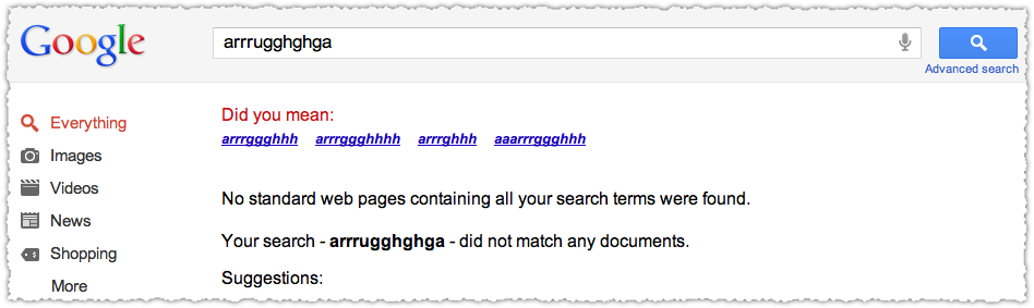 Google Did You Mean Result for Arrrugghghga