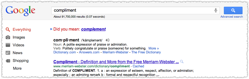 Google Did You Mean Result for Compliment