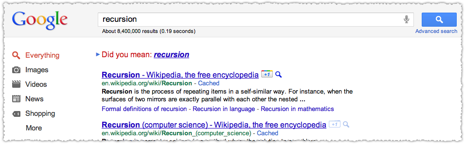 Google Did You Mean Result for Recursion