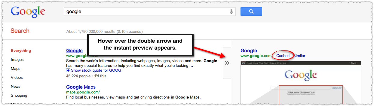 Google Cached Link in Instant Preview