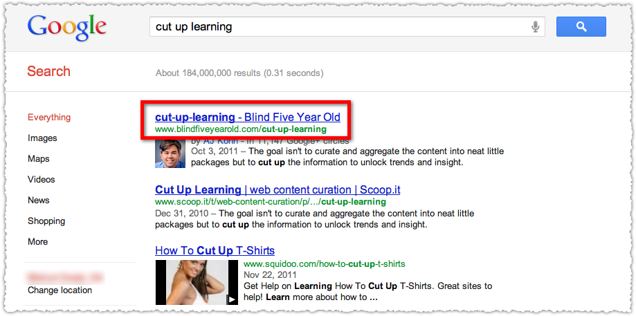 Cut Up Learning Google Search Result