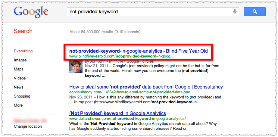 Not Provided Keyword Google Search