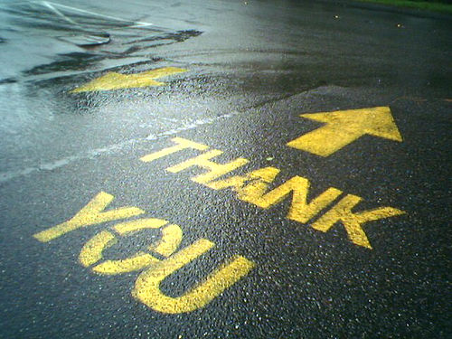 Thank You Painted on Street