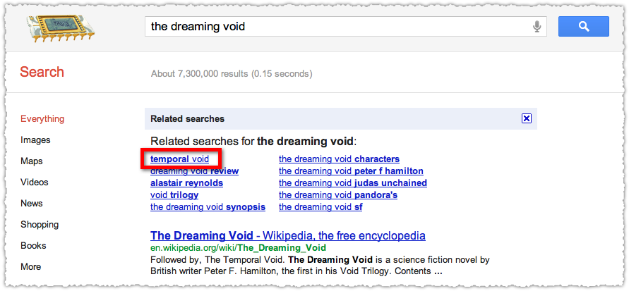 Google Related Searches for The Dreaming Void