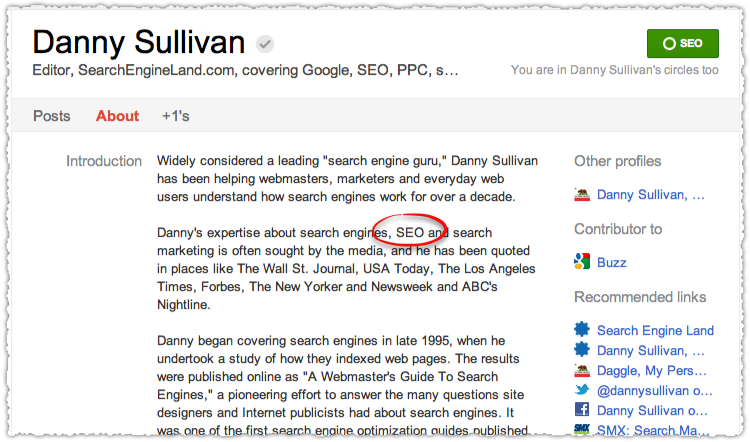 Google+ Danny Sullivan Profile Updated