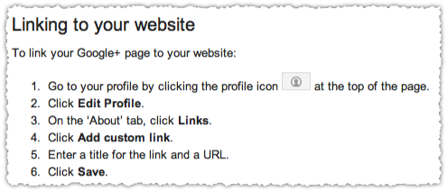 Google+ Page Verification Link to Website Instructions