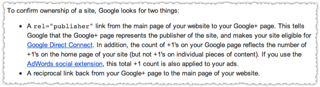 Google+ Page Rel=Publisher Verification