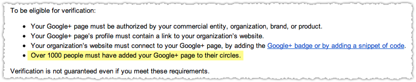 Google+ Page Verification Requirements