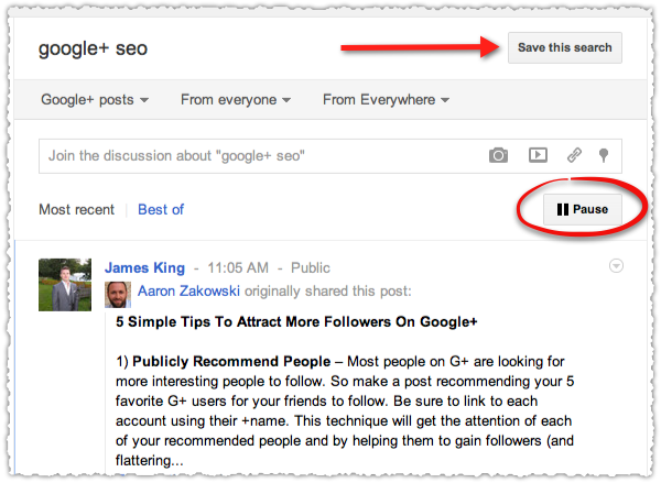 Google+ Real Time Results
