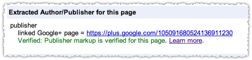 Google+ Rel Publisher Success