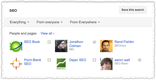 Google+ Search Results for New User
