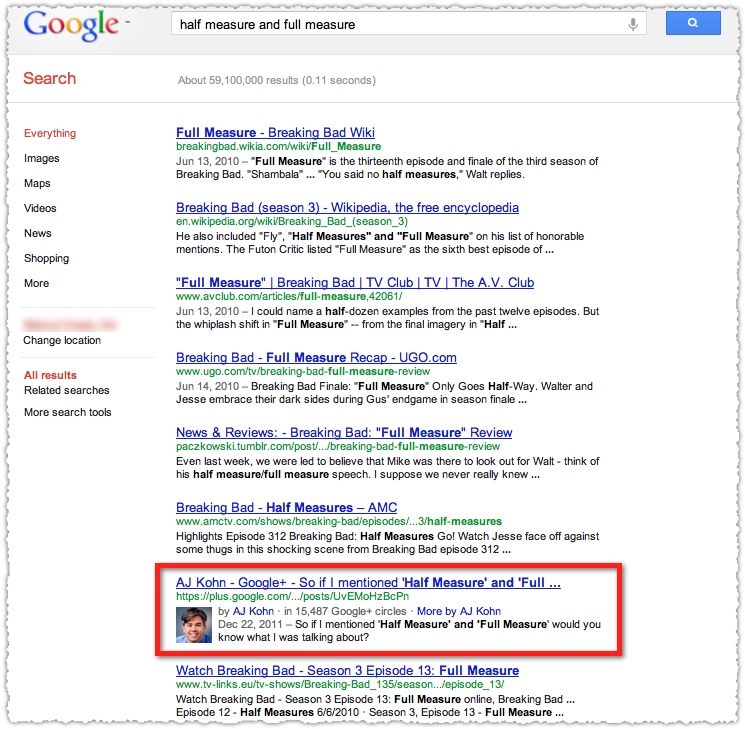 Search+ Native Google+ Nonpersonalized Search Results
