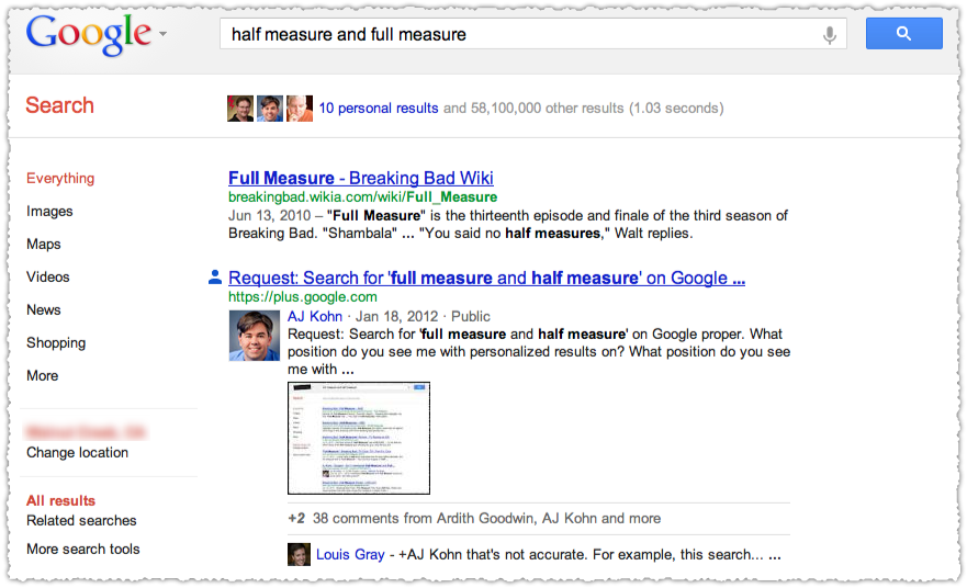 Search+ Personalized Results for Half Measure and Full Measure