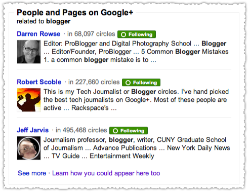 Search+ People and Pages Blogger