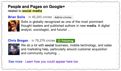Search+ Social Media People and Pages