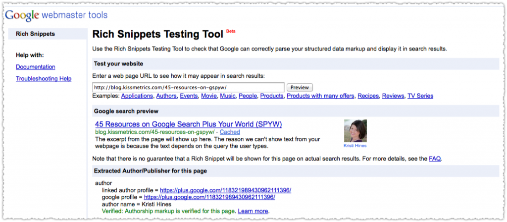 Sample Rich Snippets Testing Tool Bookmarklet Result
