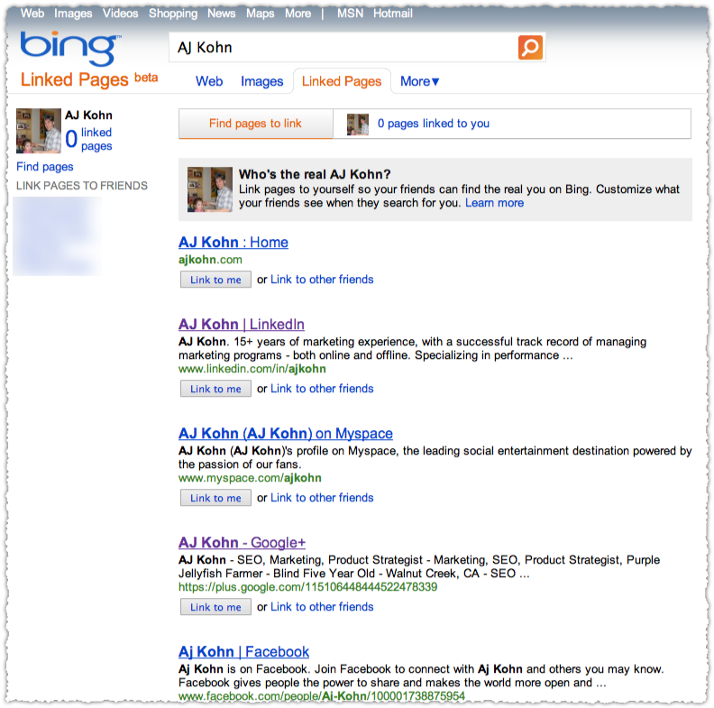 Bing Linked Pages Interface