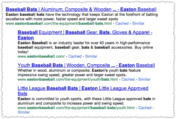 Easton Baseball Bats Google Results JavaScript Off